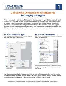 Converting Dimensions to Measures