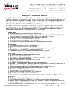 Residential Final Inspection Checklist