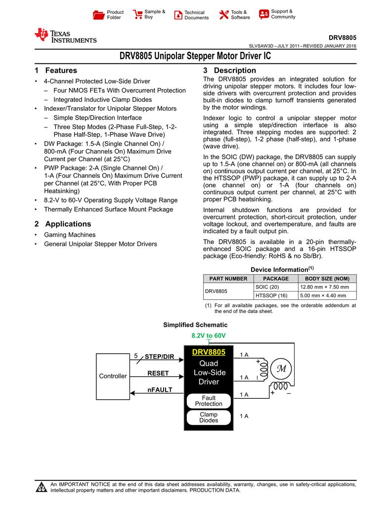 Unipolar Stepper Motor Driver IC (Rev  D)