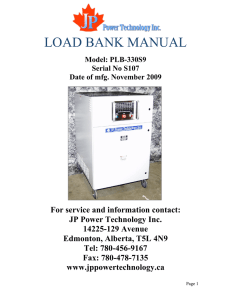 LOAD BANK MANUAL - JP Power Technology