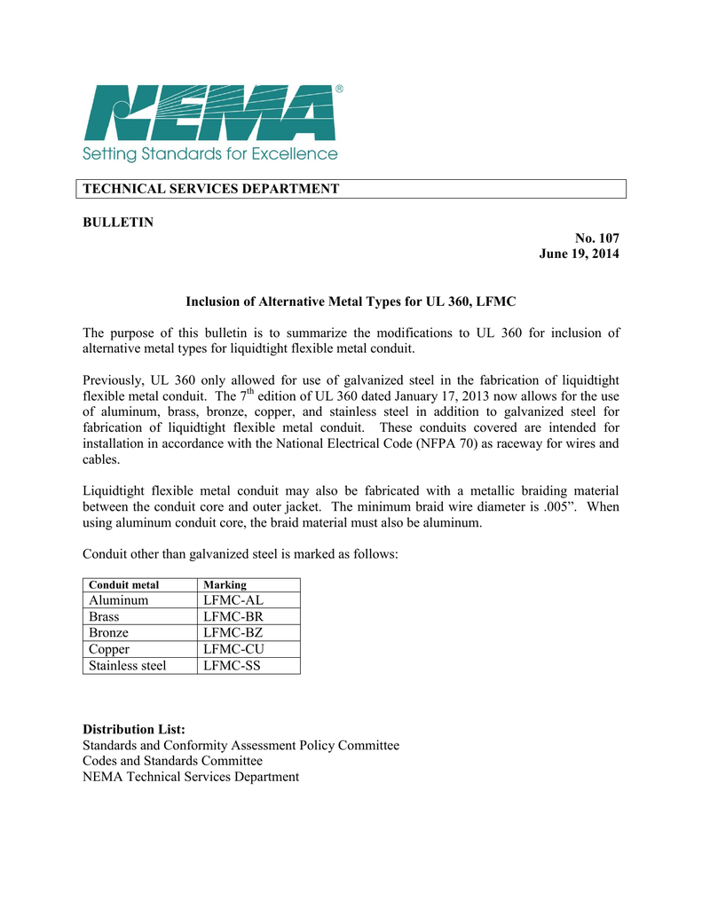 Inclusion Of Alternative Metal Types For Ul 360 Lfmc Listed Electrical Wiring Conduit