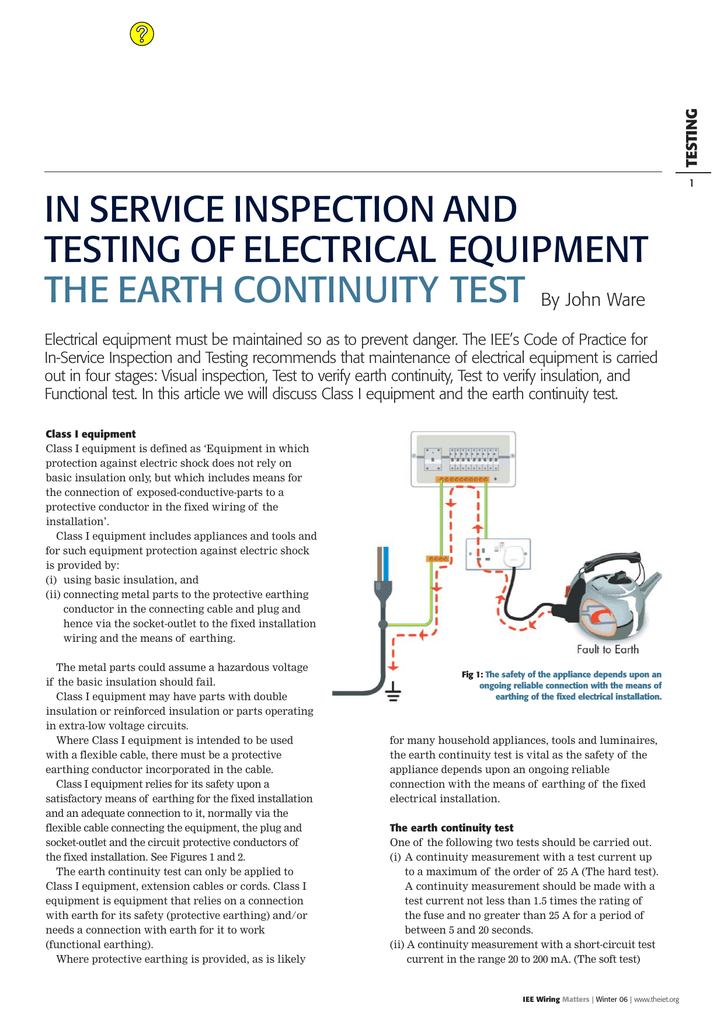Admirable The Earth Continuity Test Wiring 101 Ariotwise Assnl