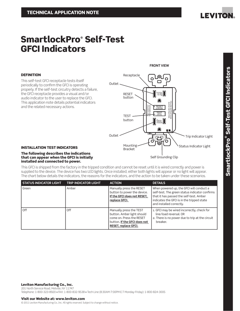 SmartlockPro® Self-Test GFCI Indicators