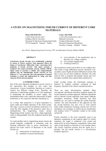 A STUDY ON MAGNETIZING INRUSH CURRENT OF DIFFERENT
