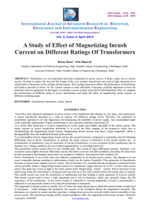 A Study of Effect of Magnetizing Inrush Current on