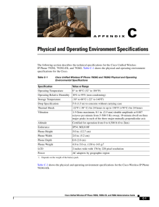 Physical and Operating Environment Specifications