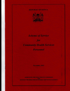 Scheme of Service for Community Health Services Personnel