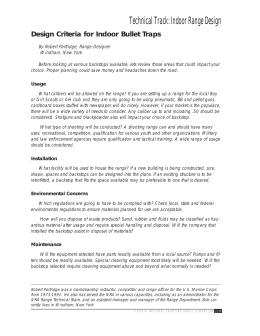 Design Criteria for Indoor Bullet Traps
