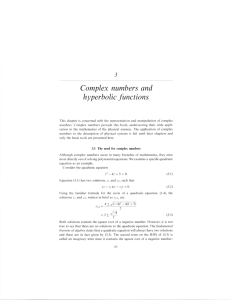 Complex numbers and hyperbolic functions