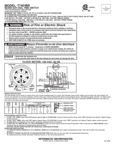 MODEL: T7401BR WARNING Risk of Fire or Electric Shock