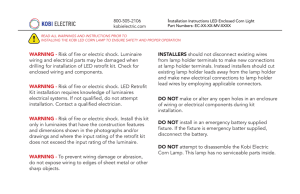 WARNING - Risk of fire or electric shock. Luminaire wiring and