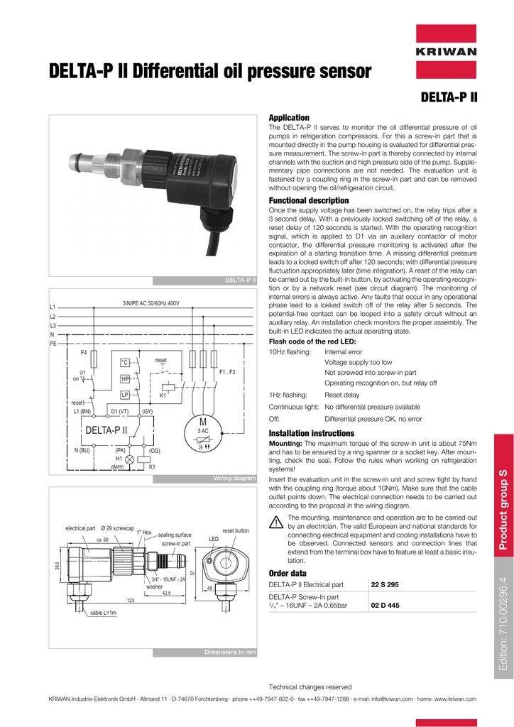 Delta P Ii Differential Oil Pressure Sensor