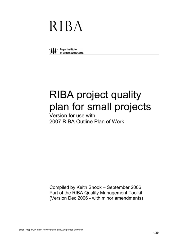 Riba Project Quality Plan For Small Projects
