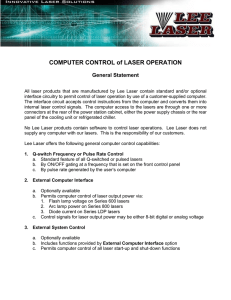 COMPUTER CONTROL of LASER OPERATION