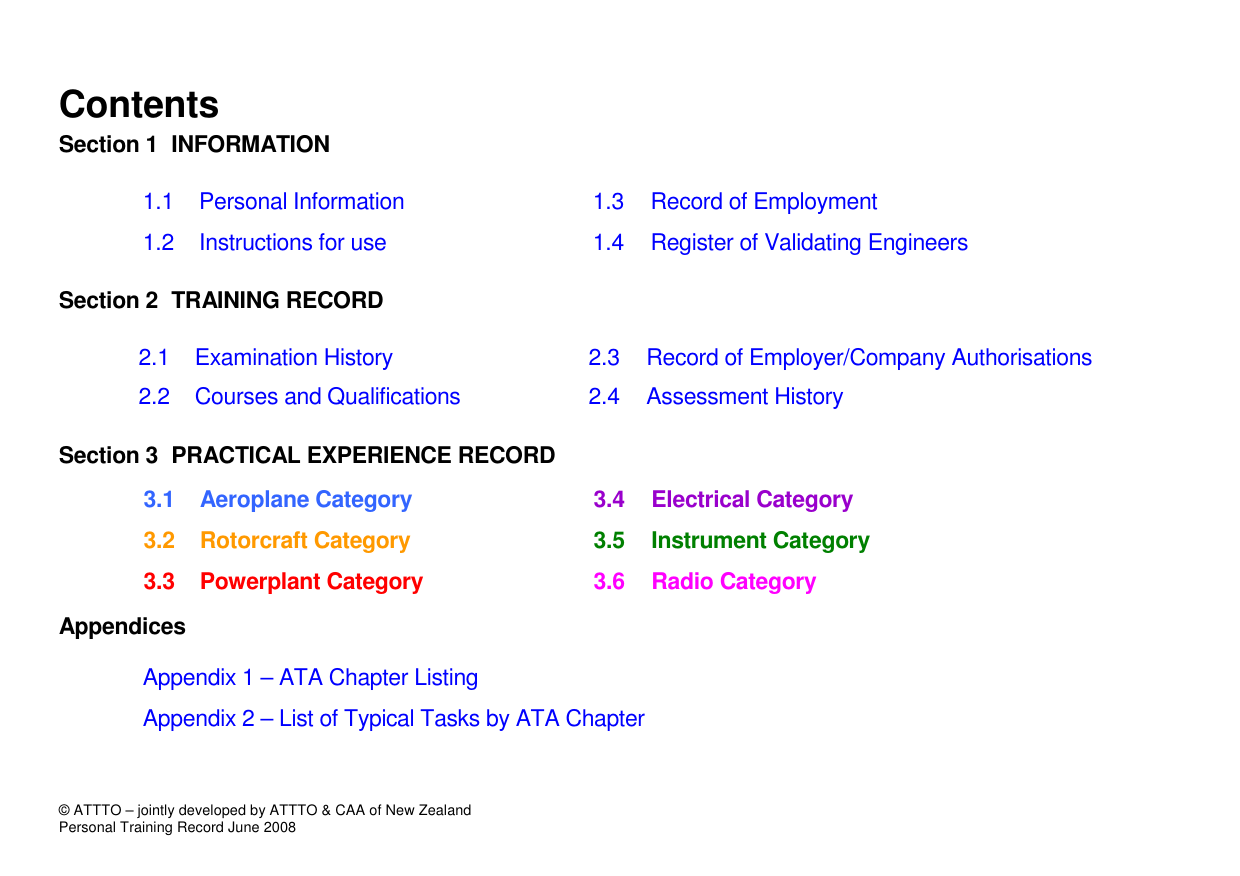 Practical Training Record - complete example