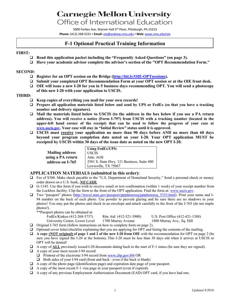 F 1 optional practical training information falaconquin
