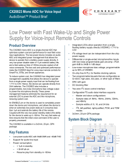 Low Power with Fast Wake-Up and Single Power Supply for Voice