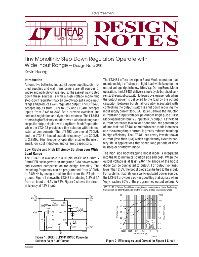 Tiny Monolithic Step Down Regulators Operate With Wide Input Range Synchronous Stepdown Dc Converter Linear Technology