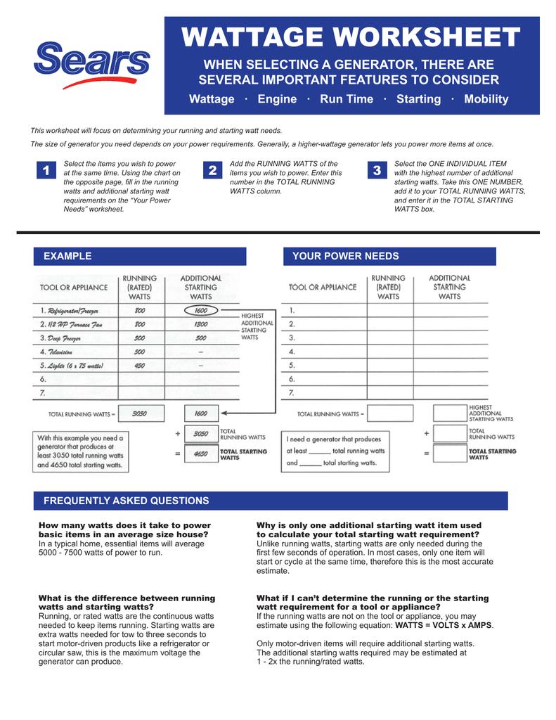 Wattage Worksheet