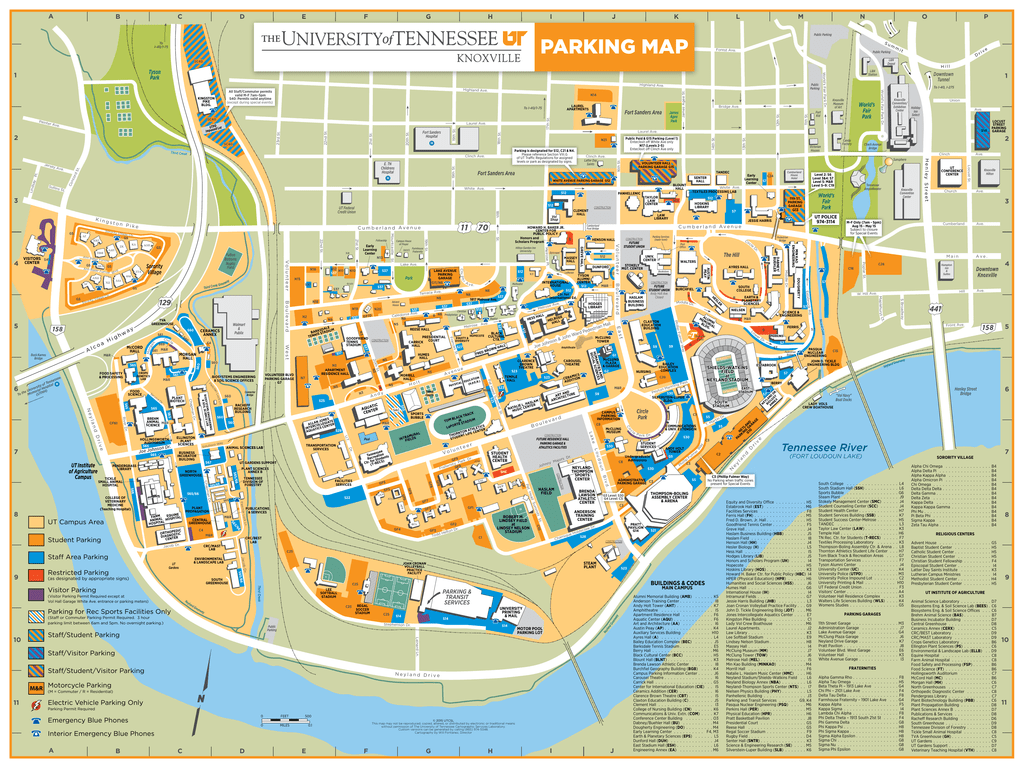 University Of Tennessee Map Parking Map   The University of Tennessee, Knoxville