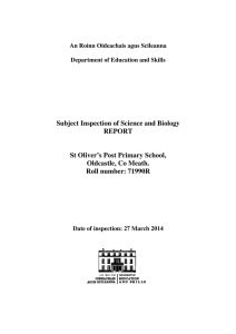 Subject Inspection of Science and Biology REPORT St Oliver`s Post
