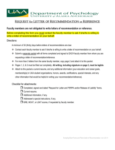 REQUEST for LETTER OF RECOMMENDATION or REFERENCE