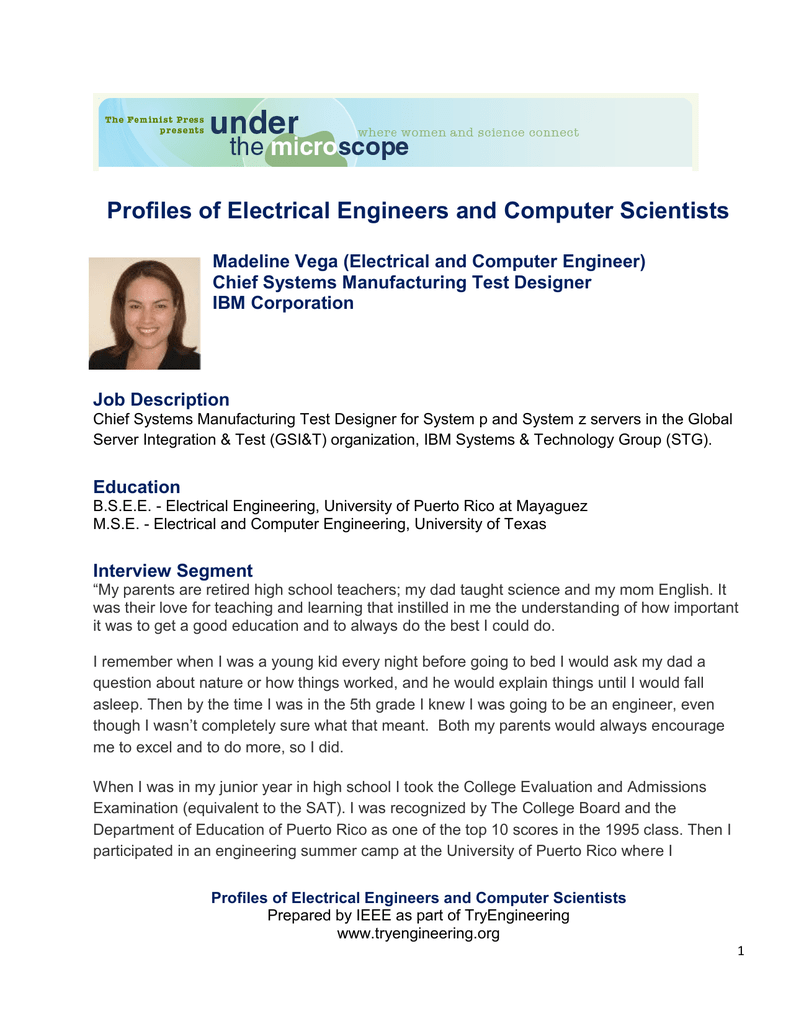 Profiles Of Electrical Engineers And Computer