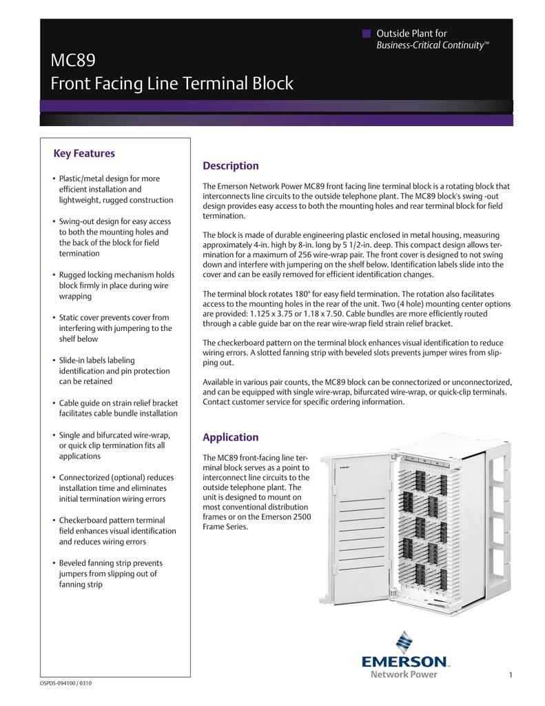 Pleasant Mc89 Front Facing Line Terminal Block Wiring Digital Resources Jonipongeslowmaporg