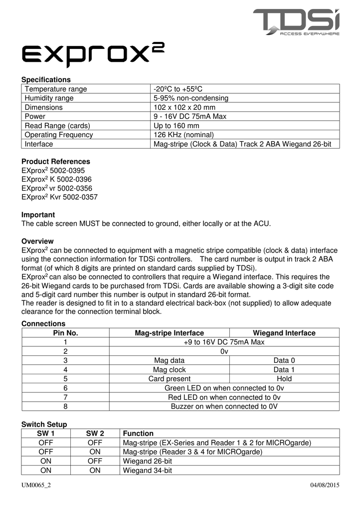 Specifications Temperature range -20ºC to +55ºC Humidity range 5