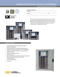 LX Lighting Control Panels Specification Sheet