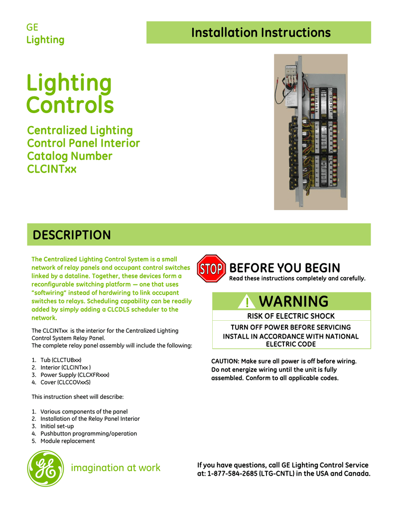 Ge Controls Installation Guide Centralized Lighting Control Panel Relay Wiring Diagram
