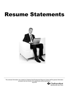 Resume Statements - Chatham-Kent