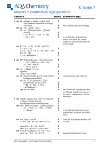 as level chemistry 2.1 assessed homework energetics mark scheme