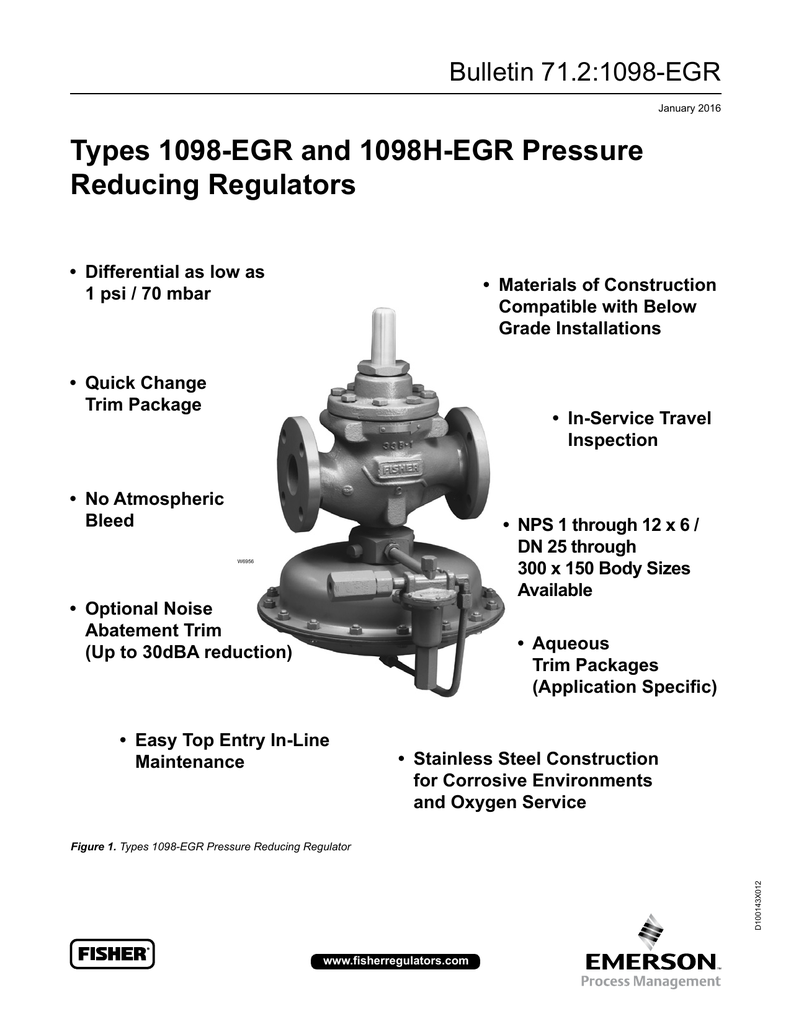 Types 1098-EGR and 1098H-EGR Pressure Reducing Regulators