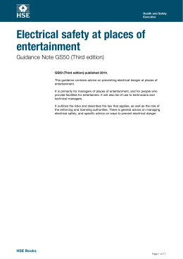 Electrical safety at places of entertainment Guidance Note GS50