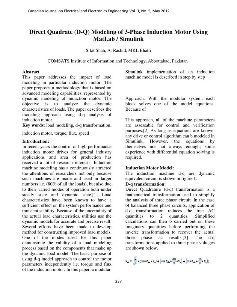 Direct Quadrate (D-Q) Modeling of 3