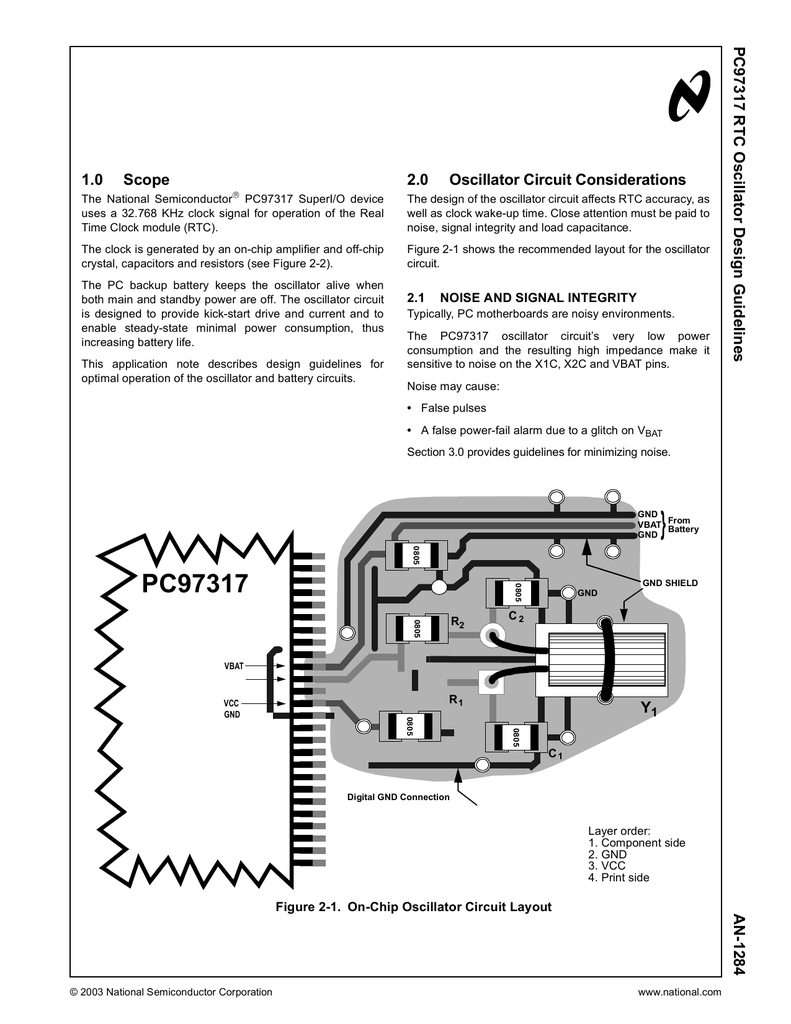 An 1284 Pc97317 Rtc Oscillator Design Guidelines Figure 2 The Components Layout Of This Circuit
