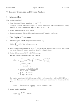 V. Laplace Transform and System Analysis