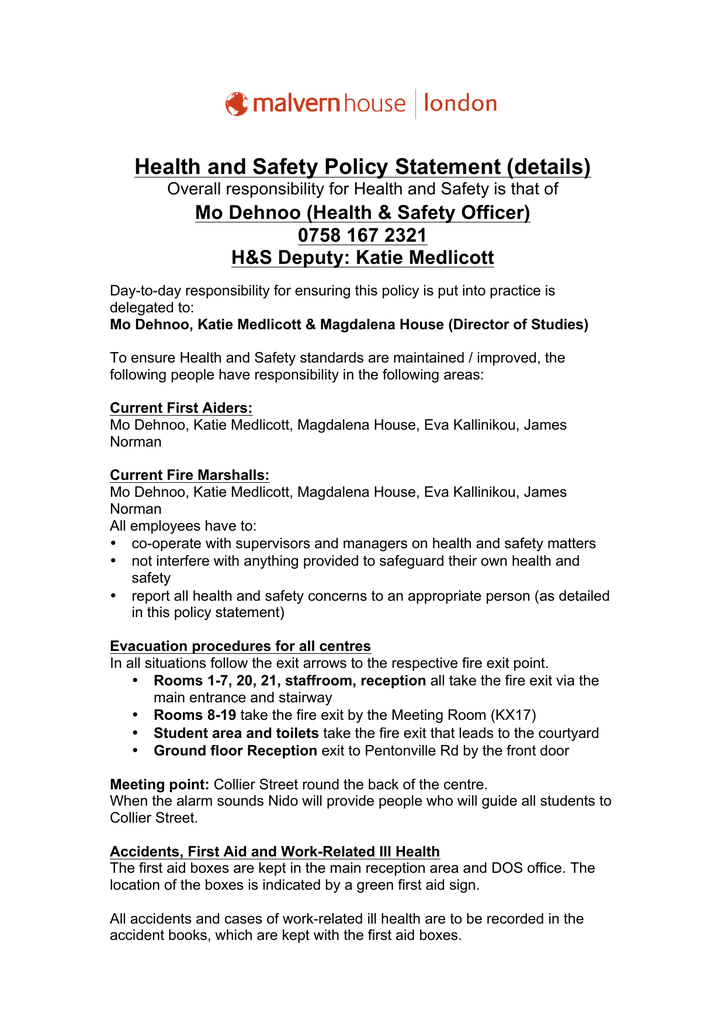Health and Safety Policy Statement (details)