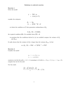 Solutions to selected exercise Exercise 1 Given the model y = Xβ + u