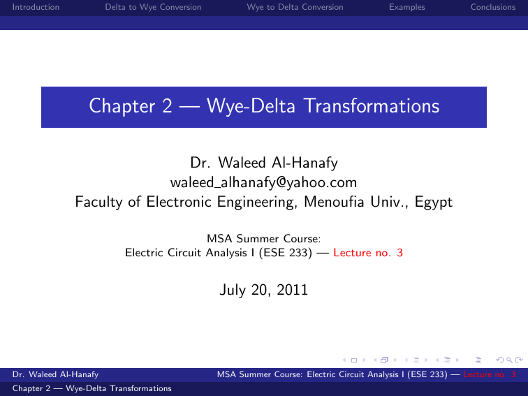 Chapter 2 — Wye-Delta Transformations