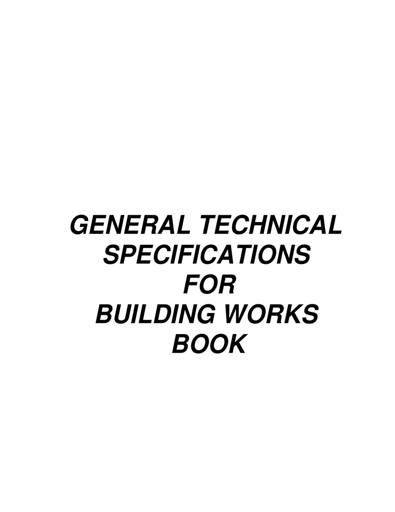 General Technical Specifications For Building Works