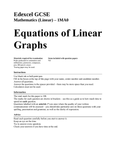 Equations of Linear Graphs