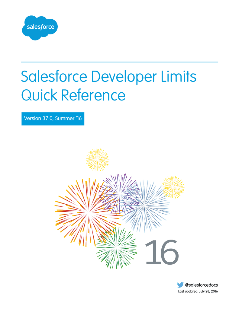 Salesforce Developer Limits Quick Reference