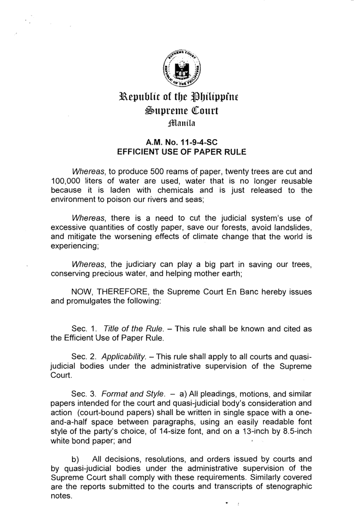 efficient use of paper rule supreme court of the philippines