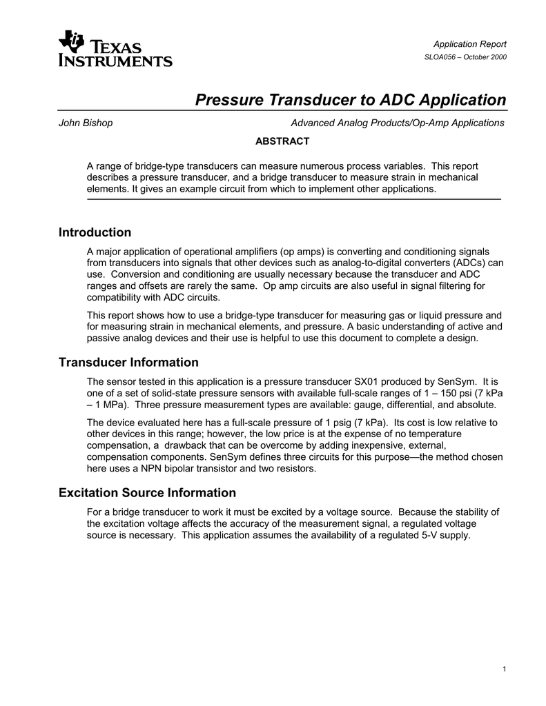 Pressure Transducer to ADC Application