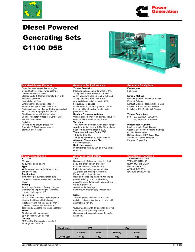 Diesel Powered Generating Sets C1100 D5B