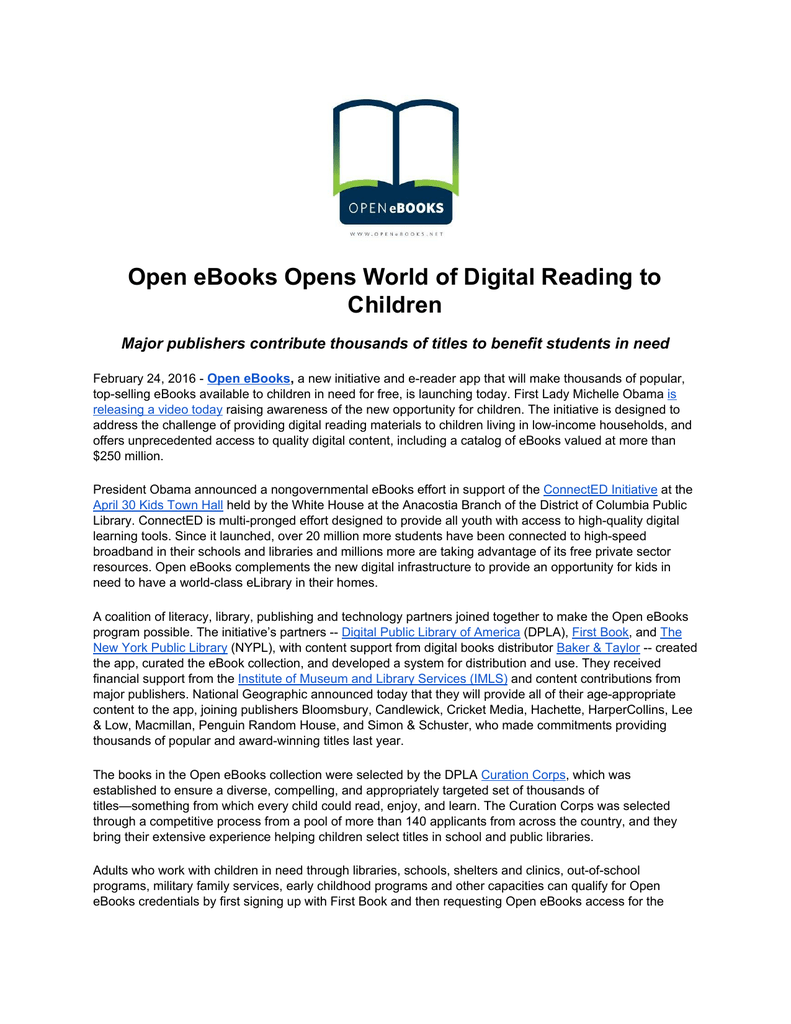 Open eBooks Opens World of Digital Reading to Children