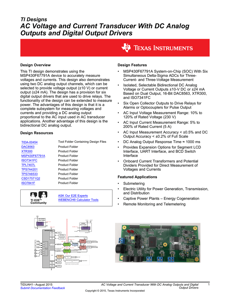 Ac Voltage And Current Transducer With Dc Analog Outputs 16channel Fm I2cbus 57 Ma Constant Led Driver Block Diagram