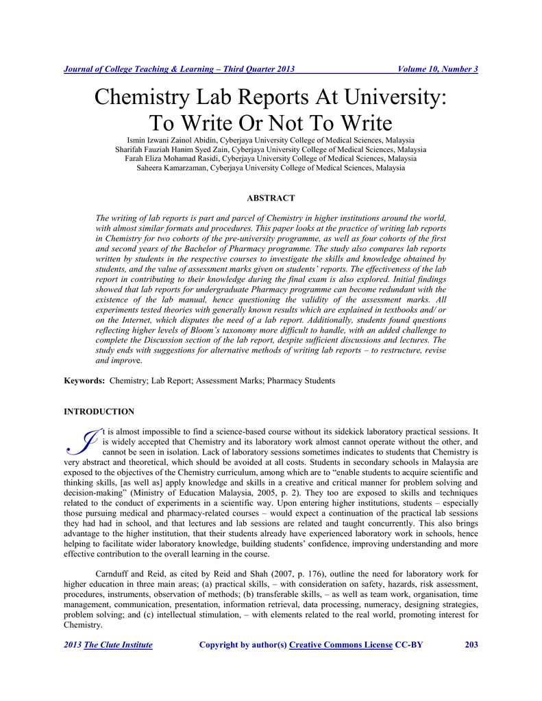 College lab report